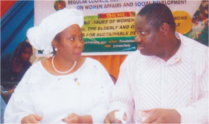 Rivers State Deputy Governor, Engr Tele Ikuru, conferring with Minister of Women Affairs and Social Development, Abuja, Iyom Josephine Anenih, during the 13th Regular Council meeting of the National Council of  Women Affairs and Social Development at Hotel Presidential, Port Harcourt, yesterday.