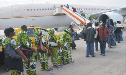 Intending Christian Pilgrims boarding at the Nnamdi Azikiwe International Airport in Abuja last Saturday.