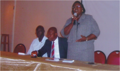 Commissioner for Information and Communications, Mrs Ibim Semenitari (standing) addressing journalists  ahead of Late Prof Claude Ake's inaugural lecture organised by the Rivers State Government, slated for February 18, 2011. With her are Commissioner for Budget and Economic Planning, Hon Gogo Charles Levi and Director Government Printing Press, Mr Augustine Wikinaka