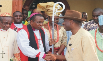 Rivers State Governor, Rt Hon Chibuike Rotimi Amaechi (right) being welcomed by Bishop Solomon Gbaregbara at a special Thanksgiving service by the Supreme Council of Traditional Rulers of Ogoni held in Bori.