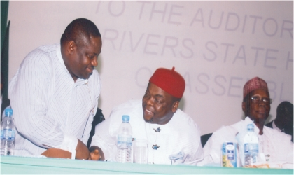 Rivers State Deputy Governor, Engr Tele Ikuru (left) welcoming the Minister of Labour and Productivity, Chief Emeka Wogu (middle) while the Minister of National Planning, Dr Shamsudeen Usman watches at  the memorial lecture in honour of Late Prof Claude Ake  at the  state House of Assembly auditorium, Port Harcourt, last Friday