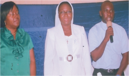 """L-R: Principal,  Holy Rosary College, Port Harcourt, Mrs Veronica Efika, Rev Sister Mary Joseph Balogun of the Religious Sisters of Charity of the Catholic Church, Port Harcourt Diocese and the College Chaplain, Rev Father Kevin Ile, during a lecture on """"Human Trafficking  As Modern Day Slavery in Nigeria: Challenges and Prospects,"""" held in the school, recently"""