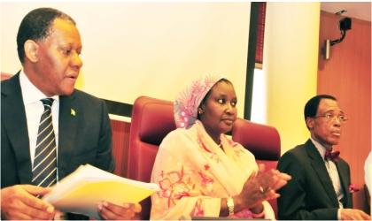 From Left: Minister of Foreign Affairs, Mr Odein Ajumogobia,  Minister of State II, Mrs Salamatu Suleiman and the Permanent Secretary, Dr Martin Uhomoibhi, at 2011 Induction Course for new ambassadorial appointees in Abuja, yesterday.