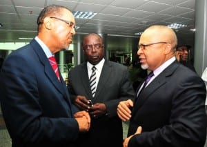 From Left: Newly appointed ambassadors, Amb. Ben Amobi and  Amb. Charles Cocodia with  former Ambassador to Switzerland, Amb. Joseph Ayalogu at the induction course for new ambassadorial appointees in Abuja, last Tuesday.