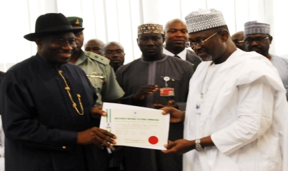 President-elect, President Goodluck Jonathan (left), receive his Certificate of Return from Independent National Electoral Commission (INEC) Chairman, Prof. Attahiru Jega in Abuja, yesterday.