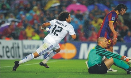 Real's Marcelo (12) after drawing Madrid level at the Nou Camp last night