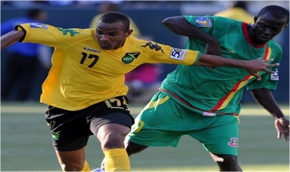 Jamaica and Grenada players during the second day of the CONCACAF Gold Cup competition, yesterday