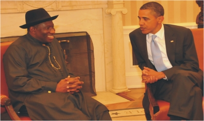 President Goodluck Jonathan in a chat with US President, Barrack Obama during his visit to the White House On Wednesday