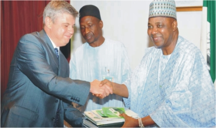 From Left: Russian Ambassador to Nigeria, Mr Alexander Polyakov; Director of Protocool, Office of the Vice President, Mr Ladan Sidi, and Vice President Namadi Sambo, during Vice President's meeting with United Company Rusal, lead by the Russian Ambassador in Abuja on Monday.