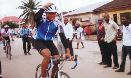 One of the new talents in the National Sports Festival, Edward Osim of Rivers State, during cycling compeition yesterday.
