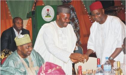 From Left: Vice President Namadi Sambo; Guest Speaker, Governor Godswill Akpabio of Akwa Ibom; and NUJ President, Malam Garba Mohammad, at the N1billon NUJ fund raising dinner in Abuja on Thursday.