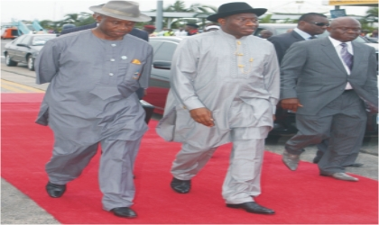 President Goodluck Jonathan (middle) and Rivers State Governor, Rt. Hon. Chibuike Rotimi Amaechi (left) stepping out, shortly after arriving for the opening ceremony of the  17th National Sports Festival, in Port Harcourt, on Sunday.