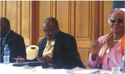From Left: Mr J.K Gadzama (SAN); representative of the Nigerian High Commissioner to the UK, Mr Akin Oyateru, and  EFCC Chairman, Mrs Farida Waziri, at Nigeria's anti-corruption and executive forum on Nigeria in London on Sunday.