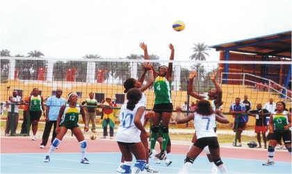 A women volleyball action between Rivers and Lagos State during the just-concluded 17th National Sports Festival, Garden City Games, 2011