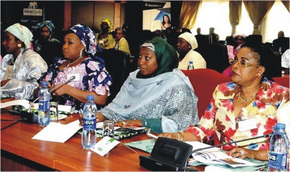 From Right: First Lady, Dame Patience Jonathan,  wife of the Vice President, Hajiya Amina Sambo, wife of Taraba State Governor, Hajiya Danbaba Suntai, and other governors' wives at a four-day retreat in Obudu Cattle Ranch, Cross River State, on Wednesday.