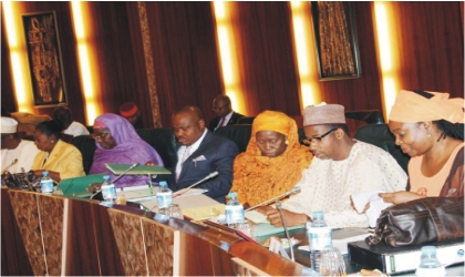 Cross section of ministers at the  Federal Executive Council meeting in Abuja, last Wednesday.
