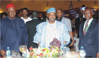 From Left:  Secretary to the Government of the Federation, Sen. Anyim Pius Anyim; Vice President Namadi Sambo, and Chairman, Board of Directors, Nigerians in Diaspora Organisation, Mr Ganiya Dada,  at  a  dinner in Abuja on Wednesday.