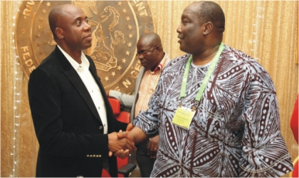 Rivers State Governor,  Rt. Hon. Chibuike Amaechi (left) in a handshake with Barr. Joseph B. Daudu SAN, President, Nigerian Bar Association, during a dinner with members of the NBA in Government House, Port Harcourt, last Thursday.