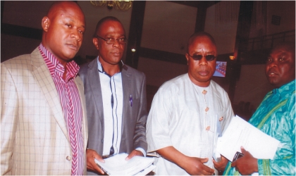 Members of Rivers State House of Assembly. From right, Hon. Evans Bipi, Hon. Okechukwu Nwaogu, Hon. Legborsi Nwidadah and Hon. Miller Anderson  after sitting at the Assembly complex, Monday. Photo: Chris Monyanaga