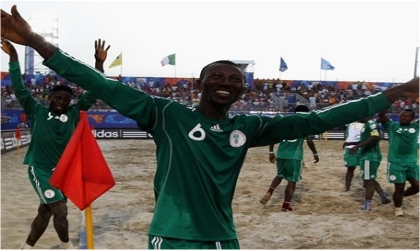 Nigeria's Sand Eagles celebrating their quarter final ticket in Italy, yesterday.