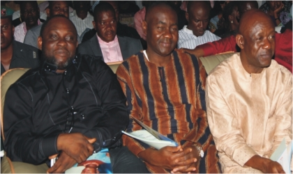 From Right: Former Rivers State Attorney General and Commissioner for Justice and  House of Representatives member, Hon. Ken Chikere, Sen. Magnus Abe and Mayor of Port Harcourt City, Hon. Chimbiko Akarolo during the service of songs for his late wife, Mrs. Caroline Chimbiko Akarolo at  Elekahia, Port Harcourt, Wednesday.