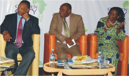 From left, American Civil Rights Activist, Rev. Jesse Jackson, Rivers State Governor and Chief Host, Rt. Hon. Chibuike Rotimi Amaechi and Festival Director, Mrs. Koko Kalango of Rainbow Book Club at the opening of the 2011 Garden City Literary Festival in Port Harcourt, Wednesday.