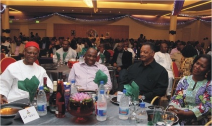 From Left: Former Commonwealth Secretary-General, Chief Emeka Anyaoku, Rivers State Governor and Chief Host, Rt. Hon. Chibuike Amaechi, American Civil rights activist, Rev. Jesse Jackson, and Festival Director, Mrs. Koko Kalango at a dinner in Government House, Port Harcourt as part of the 2011 Garden City Literary Festival, last Thursday.