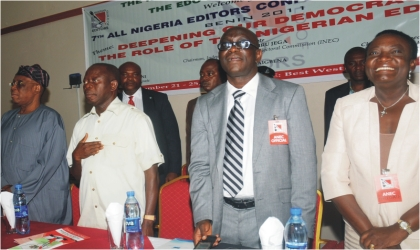 From Left: Former Ogun State Governor, Chief Segun Osoba, Governor Adams Oshiomhole of Edo State, President, Nigeria  Guild of Editors, Mr Gbenga Adefaye and Managing Director, News Agency of Nigeria, Mrs Oluremi Oyo at the opening of  the 7th All Nigeria Editors  Conference in Benin, yesterday.