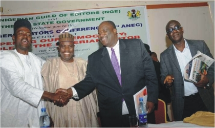 From Left: Minister of Information, Mr Labaran Maku; Speaker, House of Representatives, Alhaji  Aminu Tambuwal; President, Nigeria Bar Association, Mr Joseph Daudu, and President, Nigerian Guild of Editors, Mr Gbenga Adefaye, after a paper on Danger Signals to Nigeria's Democracy at the recently concluded All Nigeria Editors Conference in Benin, last Friday