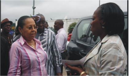 The Administrator of Greater Port Harcourt City Development Authority  Dame Aleruchi Cookey-Gam (right), welcoming the Honourable Minister of Housing and Urban Development, Ms Ama Pepple, during the minister's visit, recently.