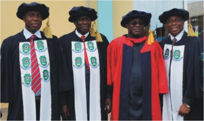 L-R: Rivers State Governor, Rt Hon Chibuike Amaechi, Pro-Chancellor, Rivers State University of Science and Technology (RSUST), Justice Adolphus Karibi-Whyte, Senate President David Mark and Vice Chancellor of the University, Prof. B. B Fakae, after the Senate President was conferred with an honorary doctorate degree at the convocation ceremony of the university in Port Harcourt, Saturday
