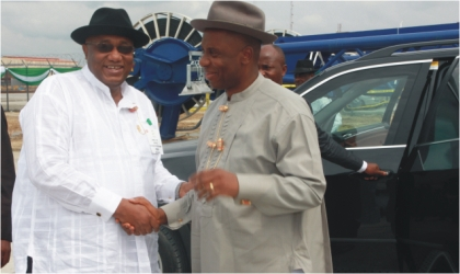 Rivers State Governor, Rt Hon Chibuike Rotimi Amaechi (right) being welcomed to the Oil and Gas Free Zone ,Onne Ports by the Managing Director, Dr Noble Abe for a site visit as part of the Ist Practical Nigerian Content Conference held in Port Harcourt, last Tuesday .