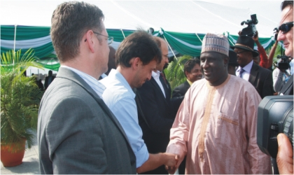 Honourable Minister of Transport, Senator Idris Umar (right) being welcomed at Onne Ports by Acting Managing Director, INTELS Nigeria Limited, Simone Volpi (2nd left), General Manager, INTELS, Johan Coetzer (2nd right) and Karl Bernlochner-Orlean during the minister's one-day working visit to the ports, recently.