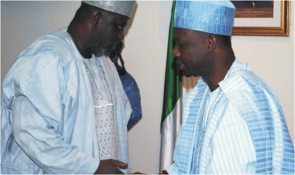 Bauchi State Deputy Governor, Sagir Saleh  (left) condoling Governor Ibrahim Dankwambo of Gombe State  over the death of his Deputy in Gombe,  Sunday.