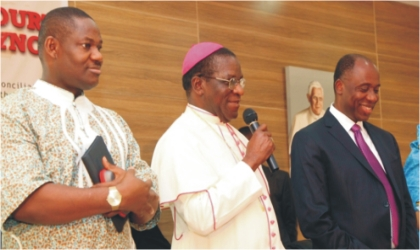 R-L: Rivers State Governor, Rt. Hon. Chibuike Amaechi, Catholic Bishop of Port Harcourt Diocese, Most Rev. Dr. Camillus Etokudoh and the State Deputy Governor, Engr. Tele Ikuru during the 2nd Port Harcourt Diocesan Synod held at the Catholic Institute of West Africa (CIWA), Post Harcourt, on Wednesday.