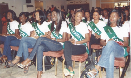 Cross section of Miss ECOWAS Peace pageant contestants during CARNIRIV 2011 media interactive forum organised by the Ministry of Culture and Tourism at Hotel Presidential, Port Harcourt, yesterday.