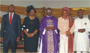 L-R: Rivers State Governor, Rt Hon Chibuike Amaechi, his wife, Judith, Catholic Arch Bishop of Port Harcourt Diocese, Most Rev. C.A Etokudoh, Supreme Court Justice, Mary Odili, her husband and former Rivers State Governor, Dr. Peter Odili at the thanksgiving mass in honour of Governor Amaechi and Justice Odili by the Catholic Diocese in Port Harcourt, yesterday.