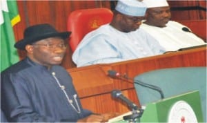 President Goodluck Jonathan (left), presenting the 2012 Budget Proposal to the National Assembly.With him are the Senate President David Mark (middle) and Speaker, House of Representatives, Hon. Aminu Tambuwal, in Abuja, yesterday.