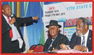 L-R: Rivers State Commissioner for Health, Dr Samson Parker, chairman of the occasion, Mr Sampson Agbaru and guest speaker, Prof. Raphael Oruamabo, at the 11th Rivers State Council on Health meeting in Port Harcourt last Moday.