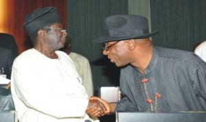 The authentic chairman of Nigeria Governors' forum, Governor Chibuike Amaechi of Rivers State (right), in a handshake with Governor Jonah Jang of Plateau State, during the National Economic Council meeting in Abuja, yesterday.