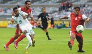 S'Eagles hattrick hero,Nnamdi Odumadi (20) scoring his first goal against Tahiti last Monday.