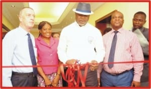 L-R:General Manager, Hotel Presidential, Port Harcourt, Mr Joseph Rennie, Director and Head of Department, Rivers  State Ministry of Commerce and Industry, Mrs Asianah Divinwil, state Commissioner for Commerce and Industry, Mr Chuma Chinye and Assistant General Manger, Hotel Presidential, Port Harcourt, Mr Rex Yakpogoro, at the inauguration of 5th Floor of the hotel  in Port Harcourt, yesterday.