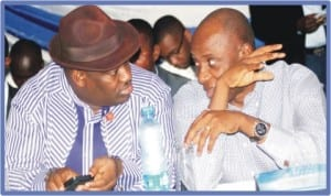 Rivers State  Governor Chibuike Amaechi (right) with the Deputy Governor, Engr Tele Ikuru, during the 2013 Inter-party Summit in Port Harcourt last Tuesday