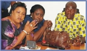 L-R: Chairman, Ogu/Bolo Local Government Council, Mrs Maureen Tamuno, Rivers Commissioner for Information and Communications, Mrs Ibim Semenitari and Chief of Staff , Government House, Mr Tony Okocha, during a news conference on activities of the council in Port Harcourt last Friday