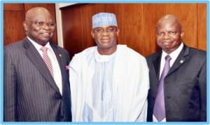 L-R:Chairman, Chartered Institute of Bankers of Nigeria, Mr Segun Aina; Senate President, David Mark and Vice Chairman of the Institute, Mr Segun Ajibola, during a courtesy visit to the Senate President  in Abuja, yesterday