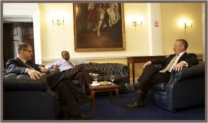 Rivers State Governor, Rt Hon Chibuike Amaechi (middle) fielding questions from BBC correspondents during an interview with the BBC in London, last Wednesday