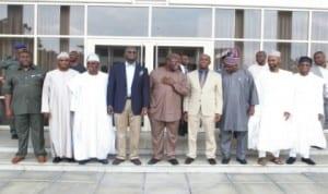 L-R: Deputy Governor (Imo), Prince Eze Madumere, Deputy Governor (Nasarawa), Dameshi Barua Luka, Governors Abiola Ajimobi (Oyo), Babatunde Fashola (Lagos), Dr. Kayode Fayemi (Ekiti),Rt. Hon. Chibuike Rotimi Amaechi (Rivers), Ibikunle Amosun (Ogun), Deputy Governor (Zamfara) Alhaji Mukhtar Anka and Governor Rauf Aregbesola (Osun) in Government House, Port Harcourt on a solidarity visit to the Rivers State Governor, Rt. Hon. Chibuike Rotimi Amaechi, yesterday.