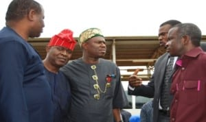 L-R: Hon. Odebunm; Hon. Ifedayo;Hon. Dakuku Peterside, Depot Manager, Enugu Engr. Ojo Adebayo and Hon  Nnanna. Igbokwe in a  discusion, during an oversight  visit of members of the House Committee on Petroleum Resource Downstream to Enugu Depot of Pipeline Products Marketing Company