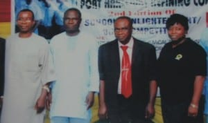 L-R: Chapter Chairman, Nigeria Society of Chemical Engineers, Rivers /Bayelsa State, Engr.Awajiogak Ujile, Manager Production PHRC,Mr.Jimoh Owah, Mr.Nedinukah Elech and Manager Community Relations, Mrs.Edith Johnson, at the school enlightenment for secondary school pupils in Port Harcourt.                                 Photo: NAN.