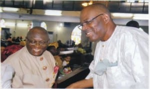 Rivers State Head of Service, Barrister Samuel LongJohn (right) with chairman, Civil Service Commission, Sir Ngo Martyns Yellowe, during a thanksgiving service  to mark the commencement of the 2013 Civil Service Week in Port Harcourt, yesterday